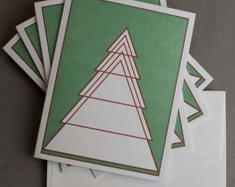 Four (4) Geometric Evergreen Tree Letterpress Cards