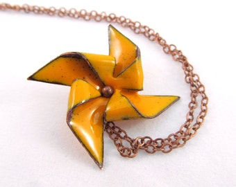 Pinwheel Necklace You Choose Size and Color