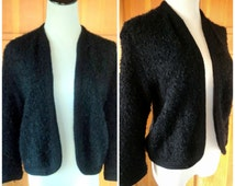 Vintage 60s Sweater Fuzzy Curly Mohair Wool Black Cardigan Mod Stephen Meadow California Creation M 36 Bust