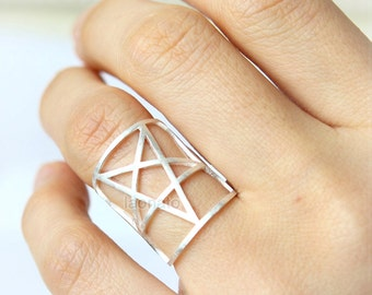 Wide Band Star Ring / Adjustable ring,choose your color, gold silver