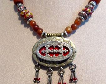 Ethnic Tribal Old Silver Afghanistan Kazakh Tribal Necklace