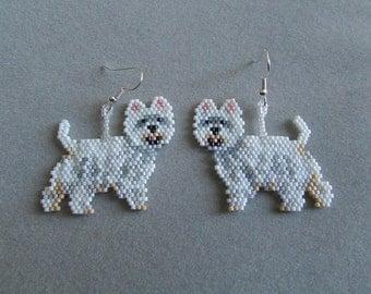 Beaded West Highland Terrier Earrings