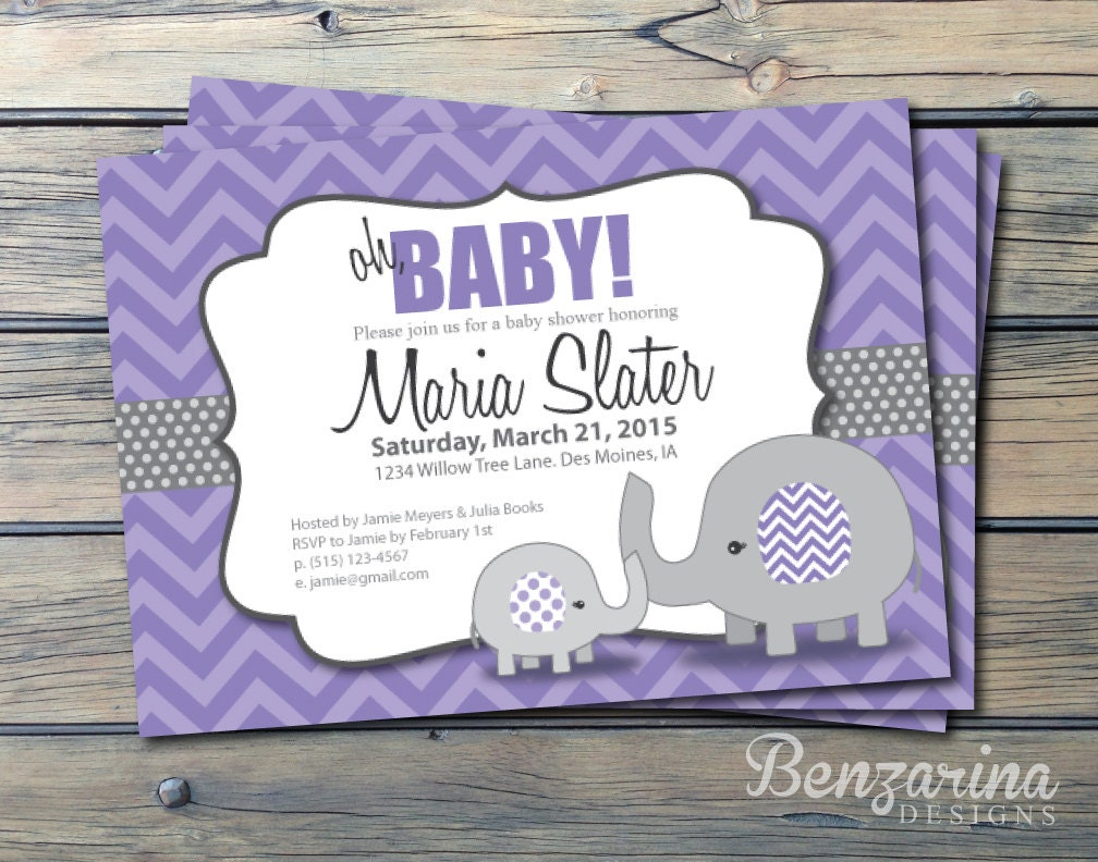 purple elephant baby shower invitation oh baby girl by benzarina