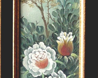 Vintage Gold Framed Original Painting ~ Asian Japanese Chinese Marking Signature T.Choi ~ Bird & Floral Subject