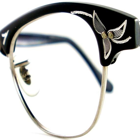 vintage black cat eye glasses eyeglasses sunglasses new 50s