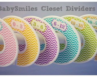 Custom Closet Dividers Baby Closet Dividers - Beautiful Colorful Girl Chevron Patterns - Baby Shower Gift, Baby Nursery 110