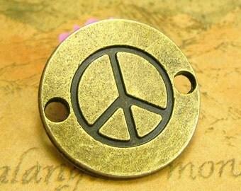 20 pcs Antique Bronze Peace Charms Peace Sign Charms Peace Bracelet Links 24x24mm CH2004