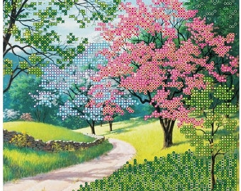 "ABRIS ART Print for embroidery with beads ""Blooming Park"""