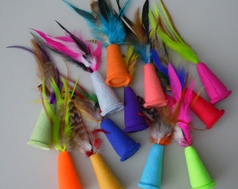 MADE TO ORDER Bulk Cat Toys One Dozen Party Hat Catnip Feather Toys