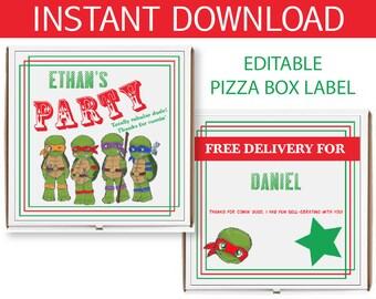Teenage Mutant Ninja Turtles Pizza Box Label  - INSTANT DOWNLOAD - TMNT Inspired