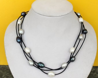 Multistrand Black Leather White Black Grey  Freshwater Pearl Neckalce