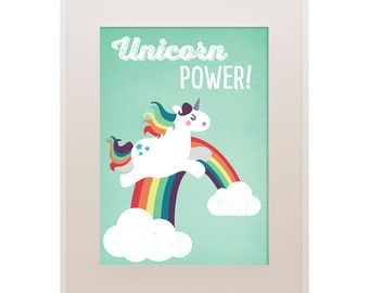 "A3 Einhorn-Poster ""Unicorn Power"", Illustration, Vektorgrafik, Tierposter, Kinderzimmer, Art Print, Druck"