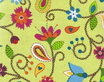 Stitch Betz White for Robert Kaufman Light green organic cotton Fat quarter
