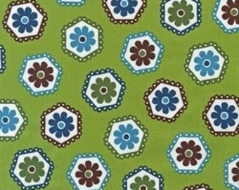 Stitch Betz White for Robert Kaufman Green Organic cotton Fat quarter