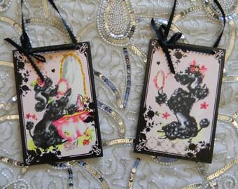 Set of Two Black Poodle Decorative Plaques
