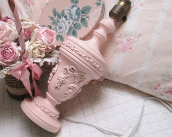 shabby chic antique french barbola pink lamp