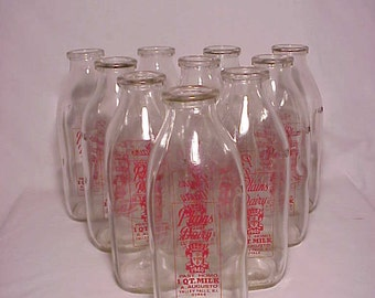 Group of Ten c1960s Plains Dairy A. Augusto Valley Falls, R.I., One Quart Size Milk Bottles