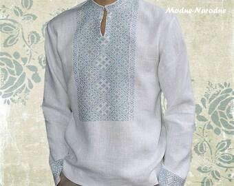 White linen shirt Mens linen long sleeve shirts Unique shirt embroidery Cotton shirt Designer mens clothing Mens casual fashion Organic wear