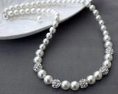 SALE Bridal Pearl Rhinestone Necklace Crystal Wedding Jewelry White or Ivory NK056LX