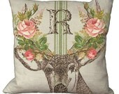 Shabby and Chic Deer Coral Rose Bouquet Antlers Grainsack Monogram Choice of 14x14 16x16 18x18 20x20 22x22 24x24 26x26 inch Pillow Cover