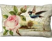 Lumbar Blue Bird & Pink Rose Postcard Oblong Pillow Cover 24x16 or 20x13 or 18x12
