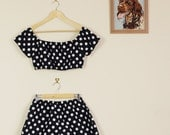 Custom Fit Black Or Pink and White Polka Dot Twin set Shorts and Crop Summer Slumber Party Lolita Matching Set