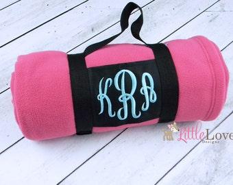 Monogrammed Blanket- Embroidered Blanket- Personalized Fleece Blanket