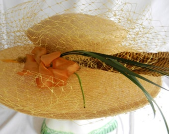 Vintage Yellow Straw Hat with Feather and Veil by Maramara of Chicago Kentucky Derby