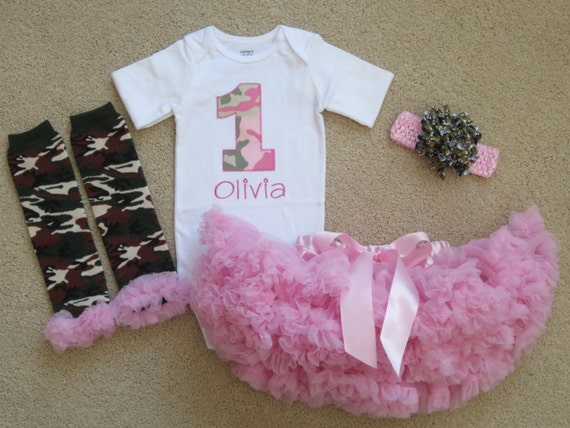 Pink Camo - Baby Girl 1st Birthday Outfit - Personalized ...