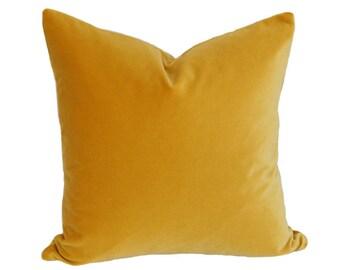Golden Yellow Velvet Pillow Cover - Made-to-Order