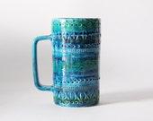 Hand Built Italian Blue Mid-Century Vase Mug  - Bitossi 1960s