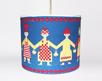 Vintage Danish Blue Children's Room Textile Pendant Light Lamp With Pattern - 60s 70s