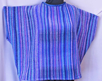 Blue and purple wool oversize hand woven sweater, handwoven plus size blue sweater