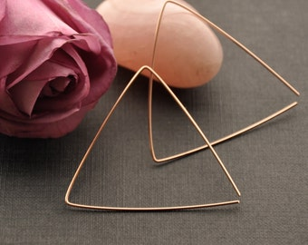 Large Triangle Hoop Earrings, Rose Gold Triangular Hoop, Modern Geometrical Earrings, Futuristic Geometric Earrings