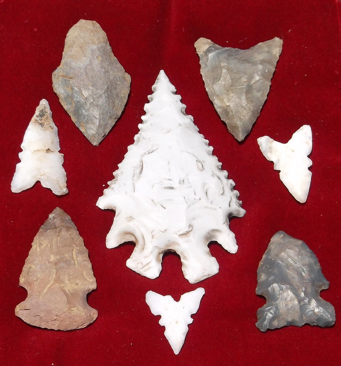 Stone Arrowhead Collection With Eccentric Pine Tree