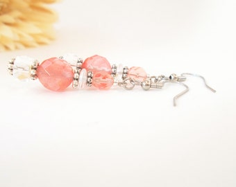 Pink Quartz Drop Earrings, Boho Bridesmaid Earrings, Romantic Wedding Jewelry, Pink Beaded Earring, Clip On, Anniversary Gift for Girlfriend