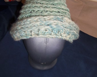 Hand Crocheted Wool Hat Made From Hand Spun White Aqua Mix Wool Yarn, Size Large