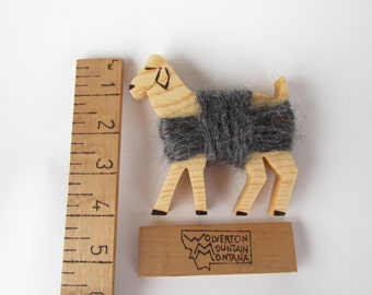 Wooden Angora Kid with Real Mohair