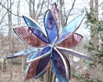 Stained glass 3D flower twirl rose pale blue glass garden art home decor outdoor suncatcher sculpture
