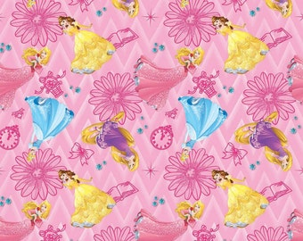 Disney Princess Floral on Pink cotton fabric by Springs Creative Fabric BTY
