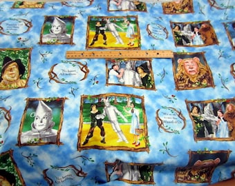 Wizard of Oz Character Frames and Quotes on Blue cotton quilting Fabric by Quilting Treasures