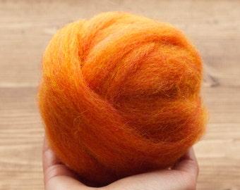 Pumpkin Orange Wool Roving for Needle Felting, Wet Felting, Spinning, Fiber Arts, Supplies