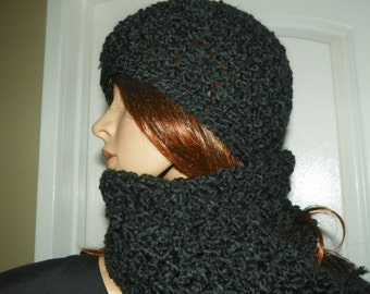 Scarf and Hat Set  Black  Scarf Set