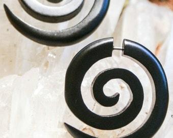 XL Fake Wooden Gauges Onyx Brown Illusion Gauge Piercings