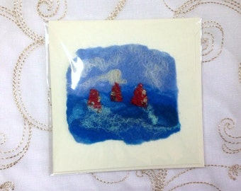Handmade Felt Blank Summer Congratulations Birthday Card Red Yachts Sailing Boats Blue White Sea Ocean