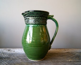 FREE DOMESTIC SHIPPING... Ceramic Pitcher, Handmade Wheel Thrown Pottery, Organic Green Black by RiverStone Pottery