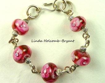 Silver Bracelet of Lampwork Glass Beads of Rose Pink with Crystals