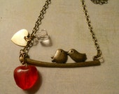 Birds Branch with Red Glass Heart and Gold Heart Charm and Beveled Crystal - Perfect for Wedding Day