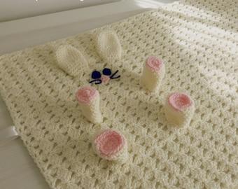 Baby Security blanket pdf crochet pattern - Rabbit amigurumi toy and blankie- newborn baby shower nursery gift blanket -  Instant DOWNLOAD