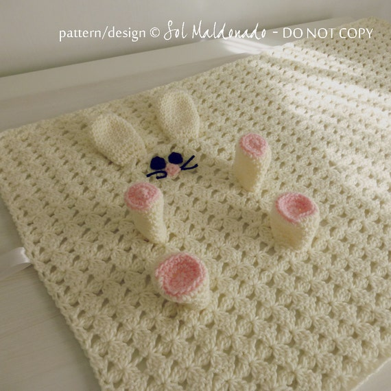 Crochet Pattern For Baby Security Blanket : Baby Security blanket pdf crochet pattern Rabbit amigurumi